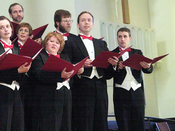 Stairwell Carollers in concert