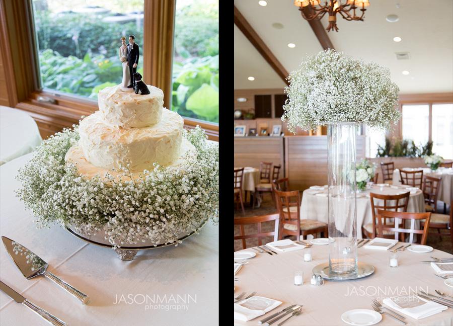 Babys breath wedding decor. White wedding cake by Tony Gorham, Gordon Lodge. Door County wedding. Photo by Jason Mann Photography, 920-246-8106, www.jmannphoto.com