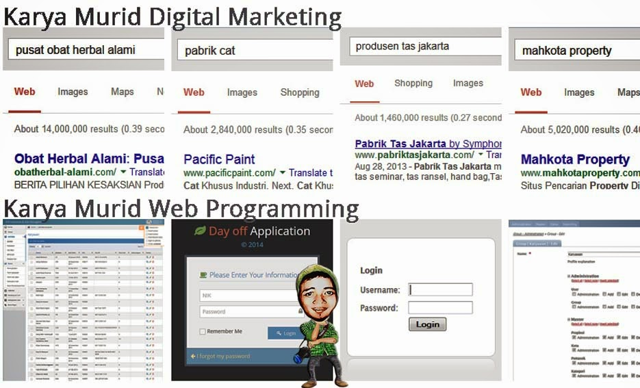 Karya Murid Digital Marketing dan Web Programming di DUMET School
