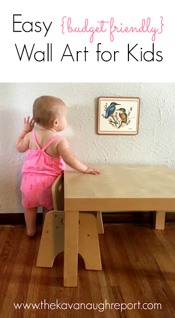 Easy and budget friendly idea for wall art in Montessori child spaces using wall calendars