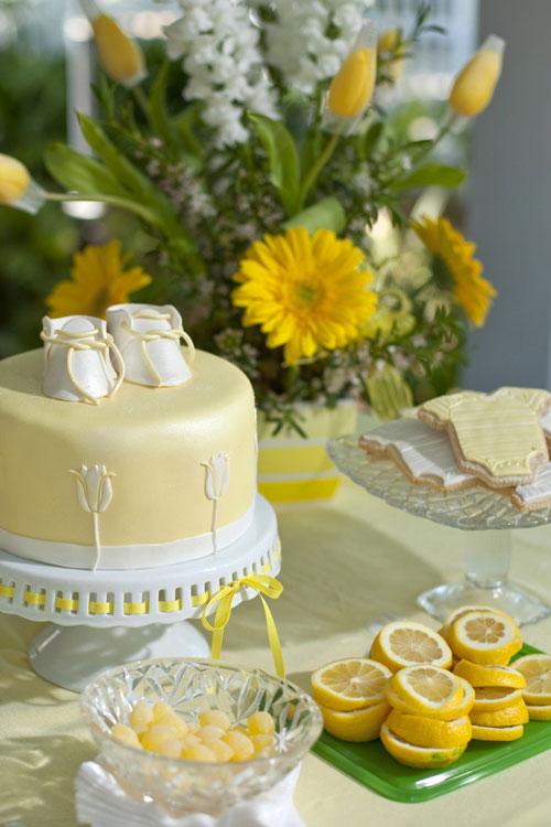 heart pears aqua and yellow elegant baby shower