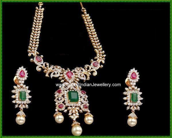 Latest diamond necklace earrings design