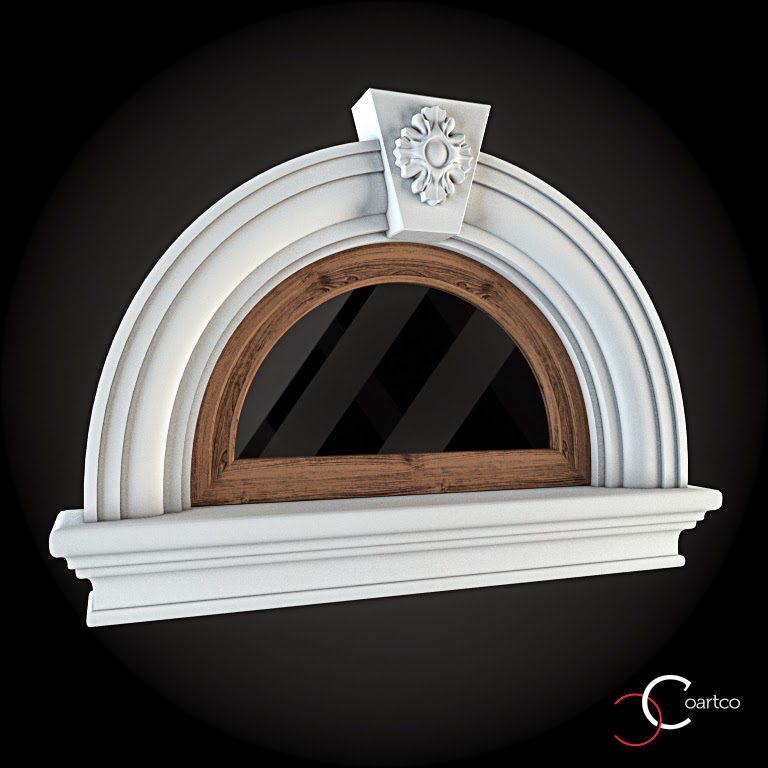 Ornameate Geamuri Rotunde Exterior, fatade case cu profile decorative polistiren, profile fatada,  Model Cod: WIN-082