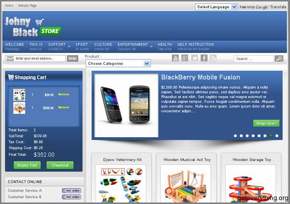 Top 6 ecommerce shopping blogger templates johny black store blogger template best ecommerce template maxwellsz