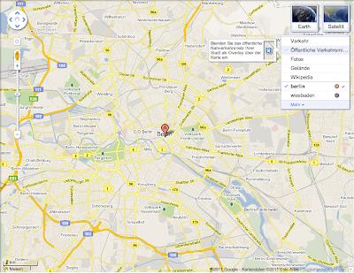 Beispiel Google Maps Optionen-Ansicht Berlin Layer Öffentliche Verkehrsmittel