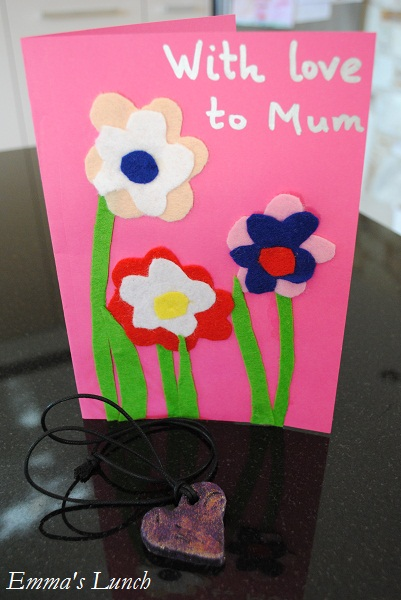 mothers day card felt flowers craft