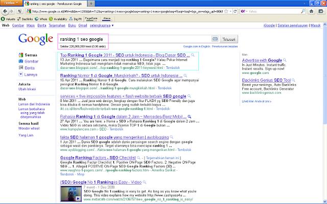 Hasil Posting Top Ranking 1 Google 2011 Setelah 96 Jam di Google Indonesia - Ranking 1 SEO Google