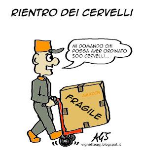 Renzi, rientro dei cervelli, talenti, fuga dei cervelli, vignetta satira