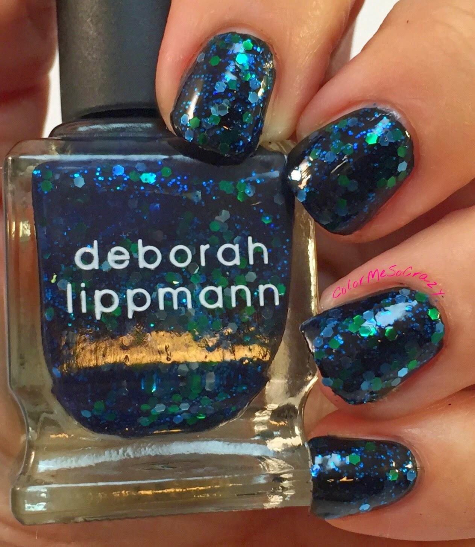 deborah lippmann-across the universe- glitter polish- jelly polish- green and blue glitters