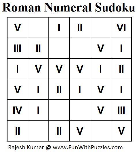 Roman Numeral Sudoku (Mini Sudoku Series #44)