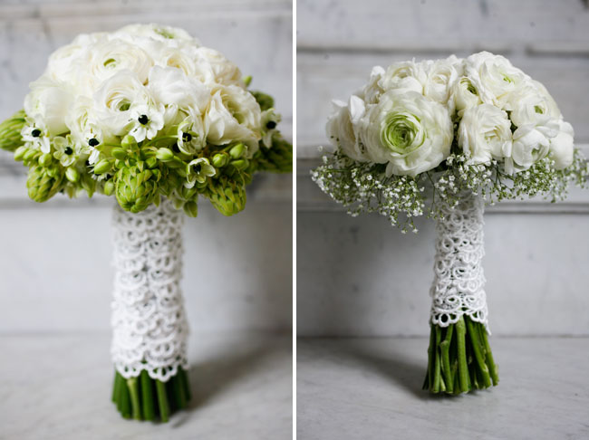 Consider wrapping your bouquet with vintage lace for a feminine romantic