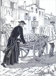O Beato Giacomo Cusmano fazendo a coleta do Bocado do Pobre em Palermo