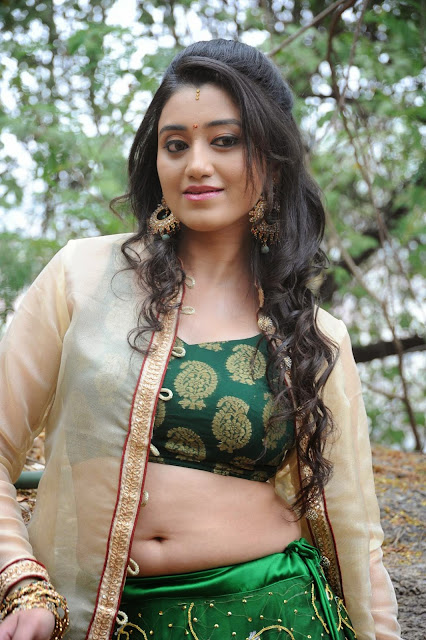 Ruchika Rajput in Green Ghagra Choli with Transparent Jacket WOW Designer Clothes