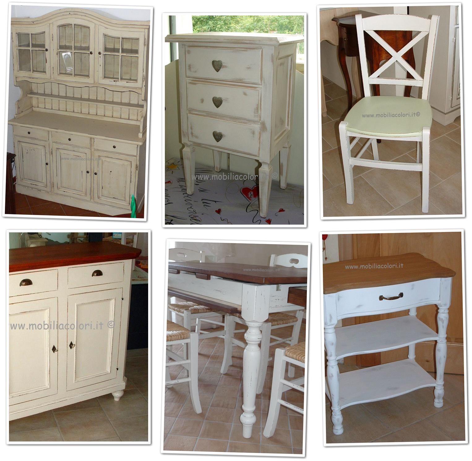 Una nuova collaborazione mobili a colori shabby chic - Mobili in legno usati ...