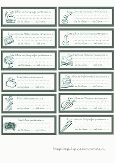 Etiquetas para libros verdes