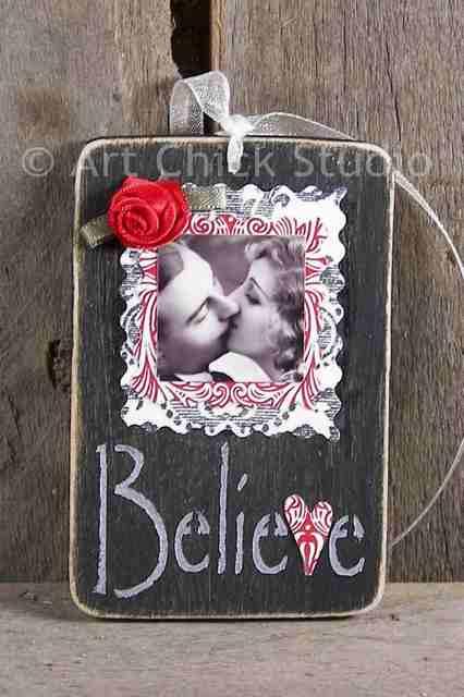 Believe in Love Wood Ornie