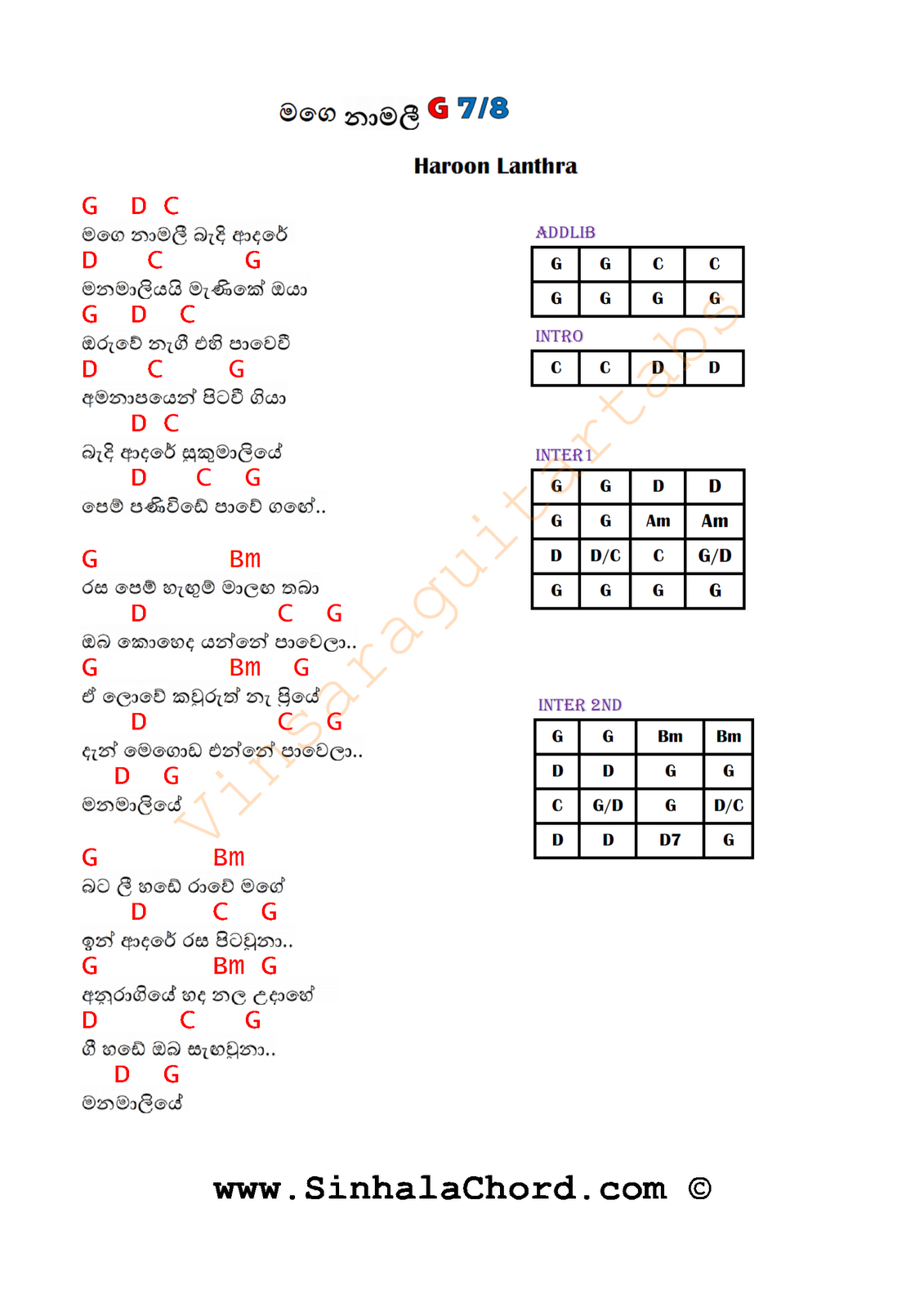 Sinhala Guitar Chords:Sinhala Songs Chords:Guitar Tabs:Sinhala Midi Tracks: Mage Namali Guitar ...