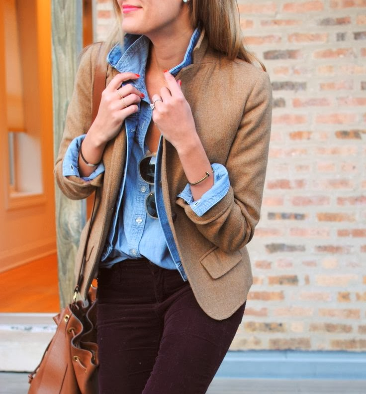 Brown jacket, blue shirt, pants and brown hand bag fashion for fall