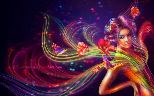 Lilia Osipova deviantart manipulação digital photoshop ilustrações fantasia surreal psicodelia Desabrochar