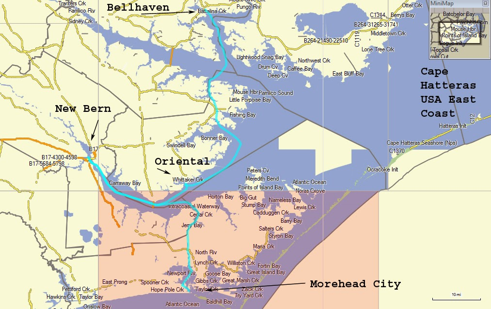 Here Is A Map Showing The Blue Line Of My Journey Up The Us East Coast From Morehead City Then Onto New Bern Oriental And Here At Belhaven