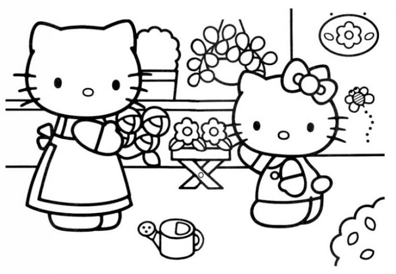 you can color it with your favorite colors they are choosing the most beautiful flowers to decorate their house - Pictures That You Can Color