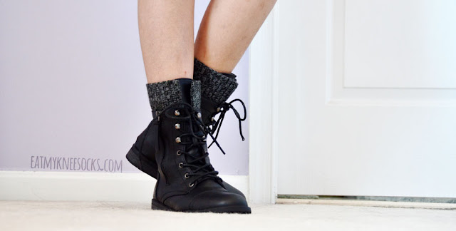 Every girl needs a good pair of lace-up combat boots, and AMIClubwear sells these knit-trim mid-calf faux leather boots for just $16.50 a pair!