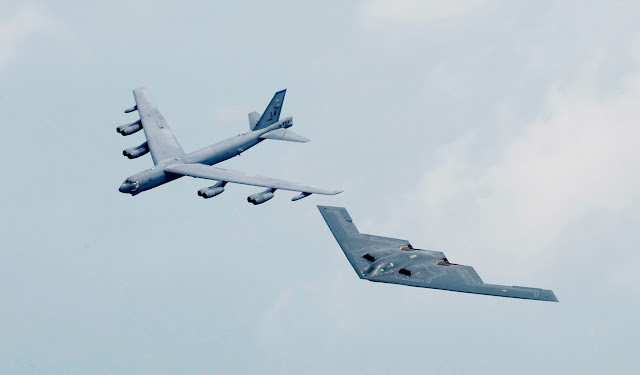 B-52 Stratofortress and B-2 Spirit in formation