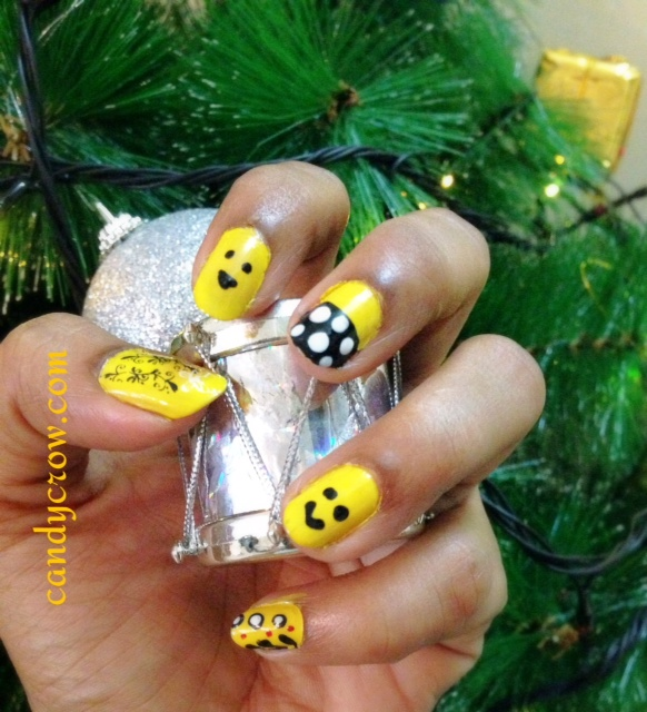 Nail Art With Yellow NAIL PAINT