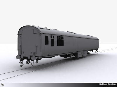 Fastline Simulation - Bullion Carriers: An in development render of the NWX Bullion Van for Train Simulator 2013. The right hand side viewed from the saloon end showing the completed underframe equipment.