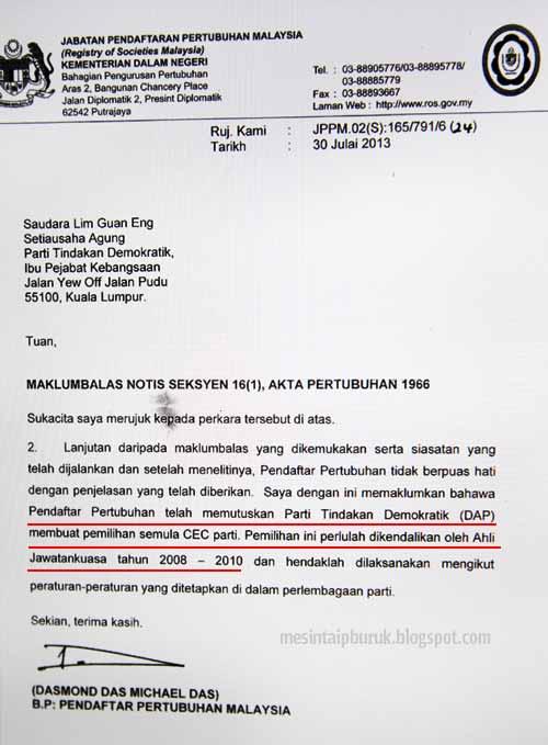 Surat rasmi ROS suruh DAP adakan semula pemilihan CEC