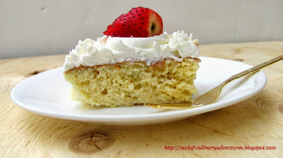 Tres Leches Cake Recipe with strawberries