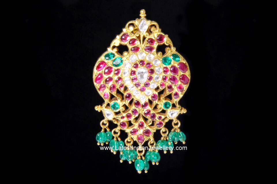 Precious Gemstones Peacock Pendant