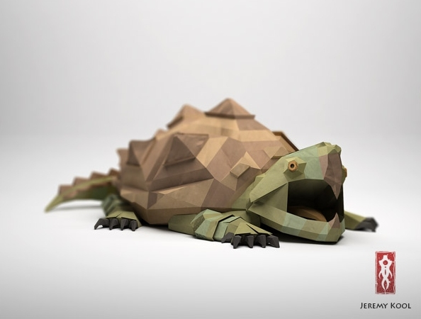 Paper Fox Project | 3D CGI Papercraft Snapping Turtle Character Colored Green And Brown