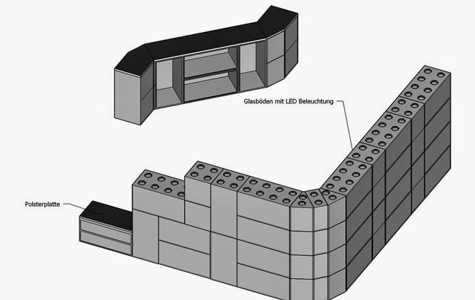 Möbelmodule aus Holz oder Beton nach Lego-Prinzip