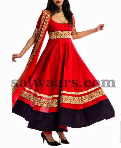 Mirchi Red Anarkali Salwar