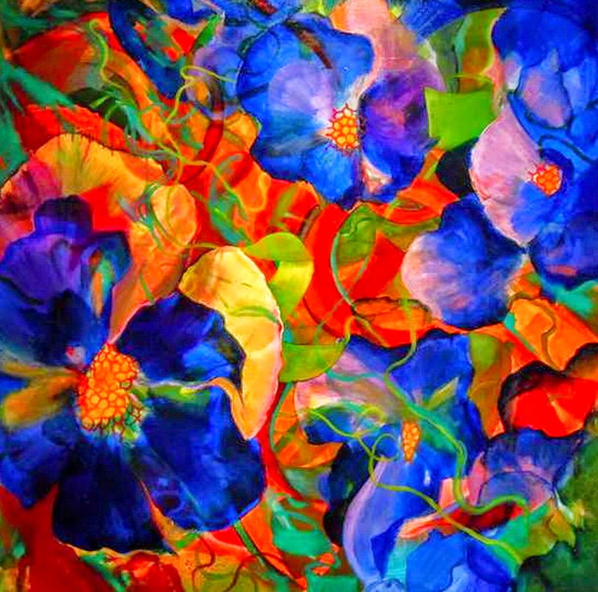 Cuadros pinturas oleos colores brillantes en cuadros al - Cuadros modernos con mucho color ...