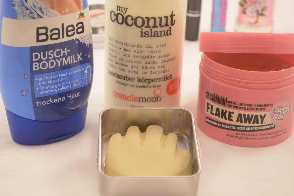 Project 10 Pan: Dusch-Bodymilk von Balea, My Coconut Island von Treaclemoon, FlakeAway von Soap&Glory und der Tiny Hands von Lush