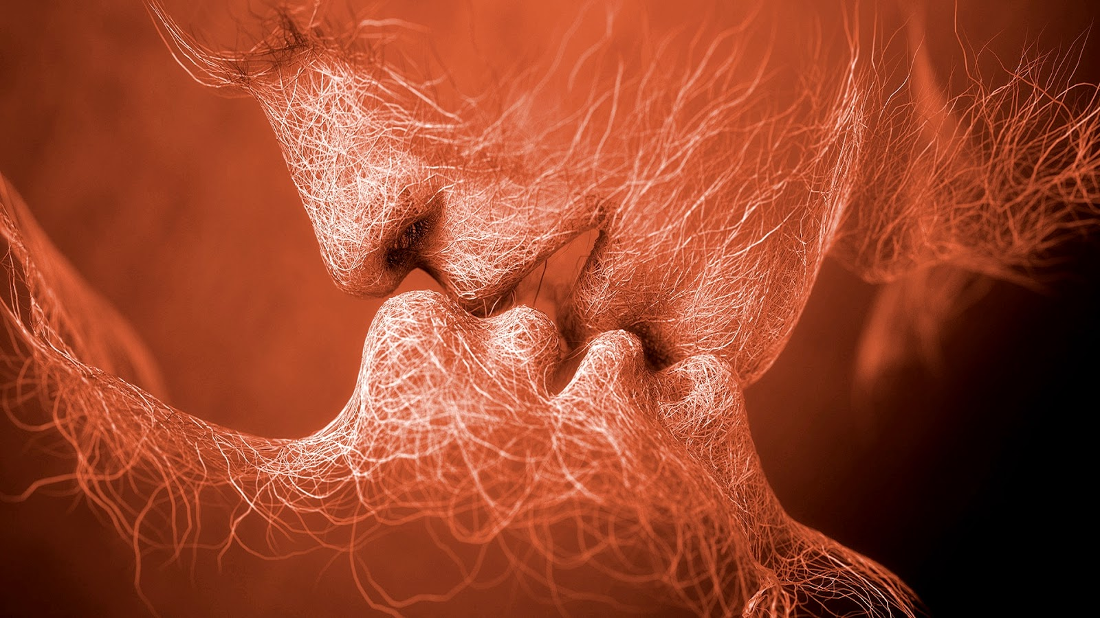 Liefdes achtergrond met kussende mensen