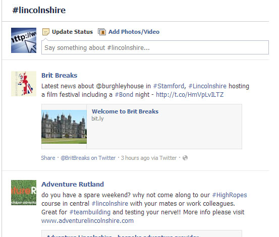 An example of the new linked hashtag search in Facebook - in this case searching for posts about Lincolnshire