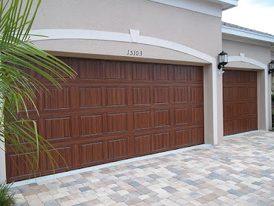 painted garage door to look like wood