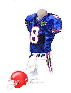 2001 University of Florida Gators football uniform original art for sale