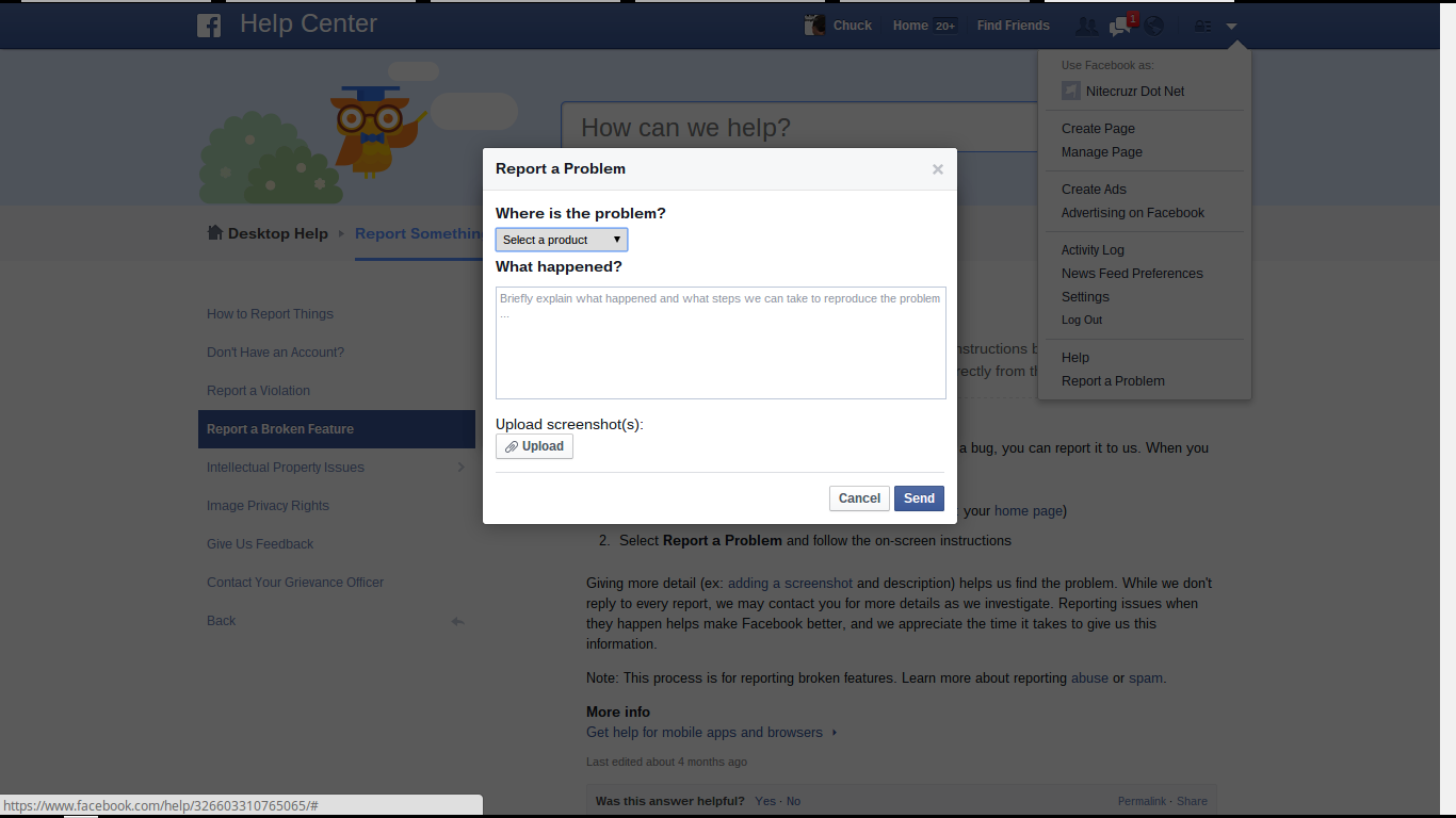 How To Report A Problem, To FaceBook Support