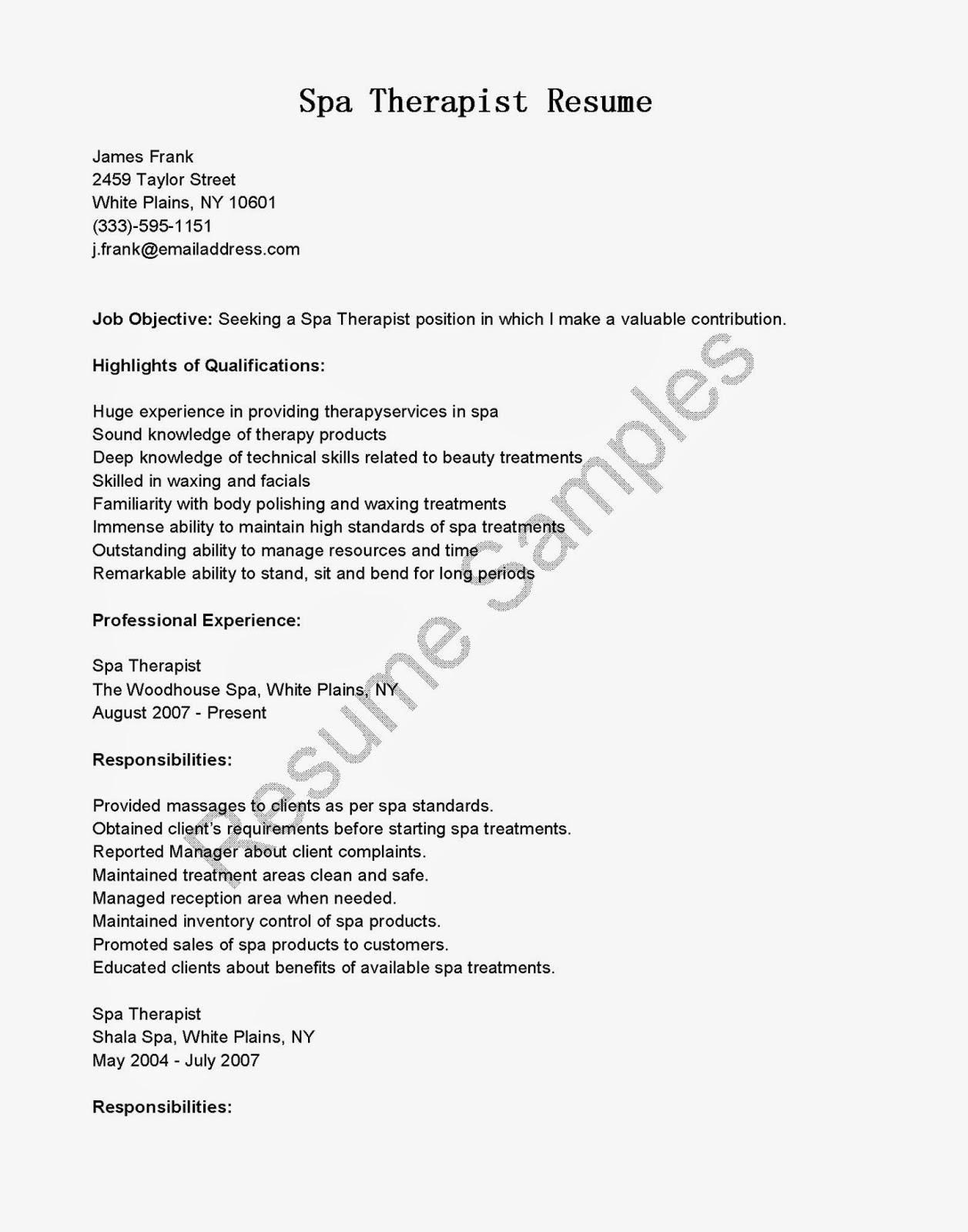 resume samples  spa therapist resume