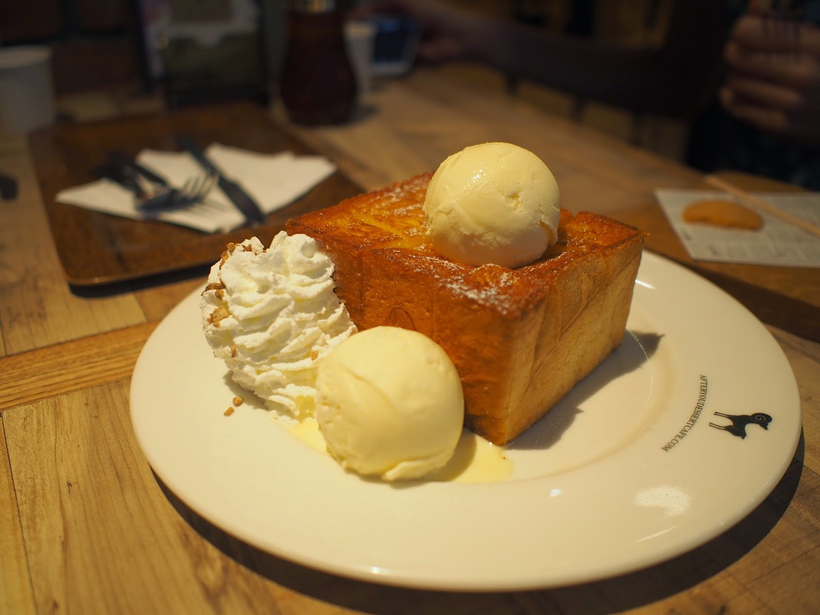 honey and topped with vanilla ice cream, the thick toast was fluffy ...