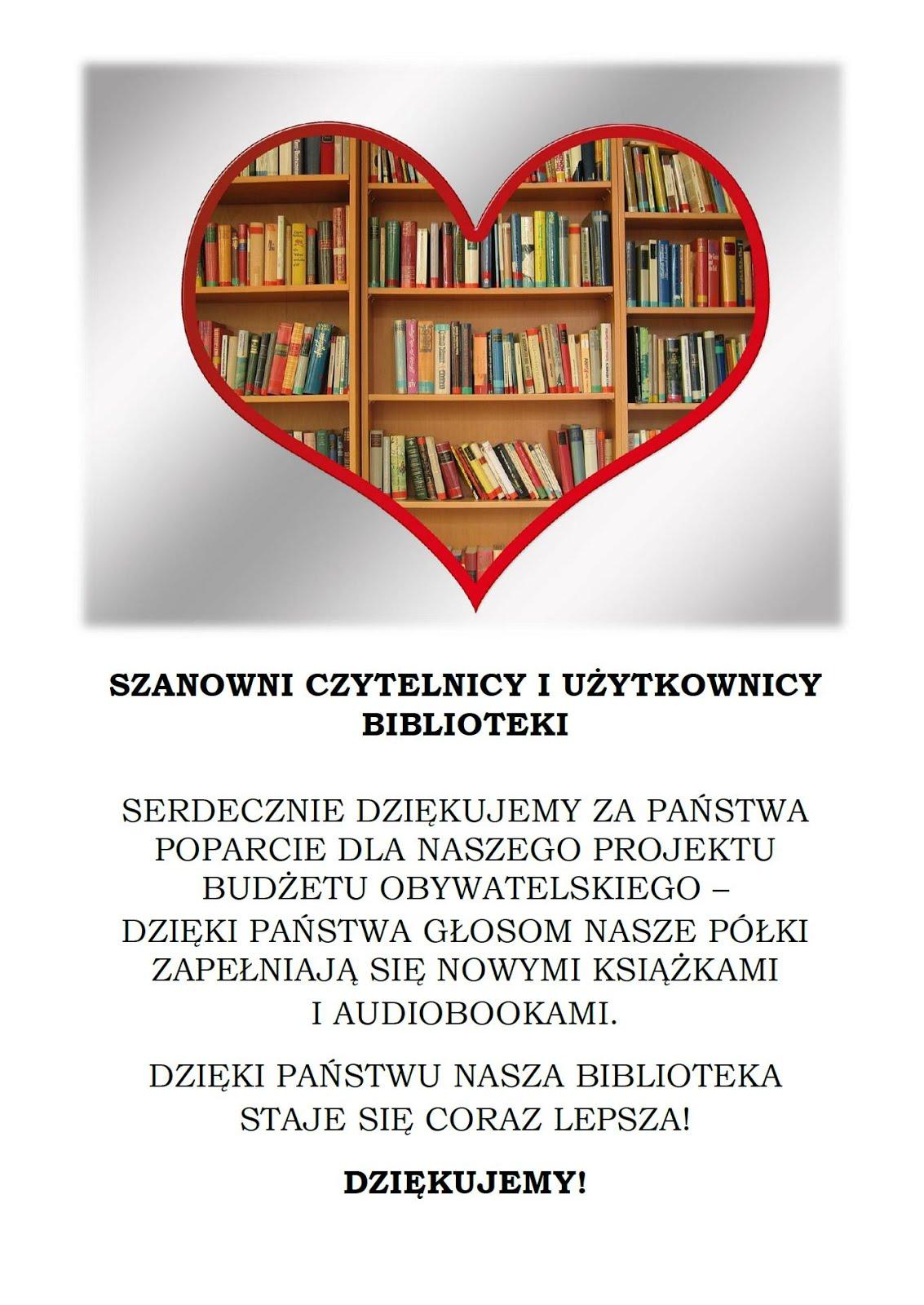 Podziękowania dla Czytelników i Użytkowników Biblioteki