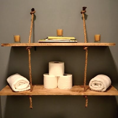 rope shelf in bathroom