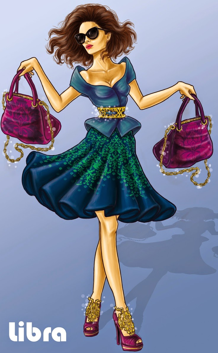 Zodiaco Mujer Elegante con carteras, signo de Libra