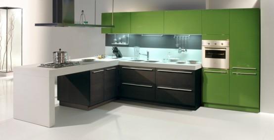 Hermosa cocina moderna verde acompañando el blanco y el negro