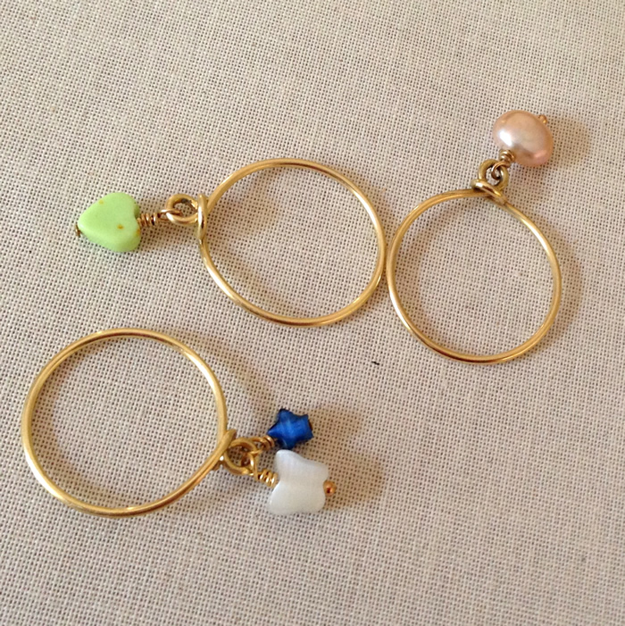 I've got to make some of these stack rings - wire and beads for dangles.