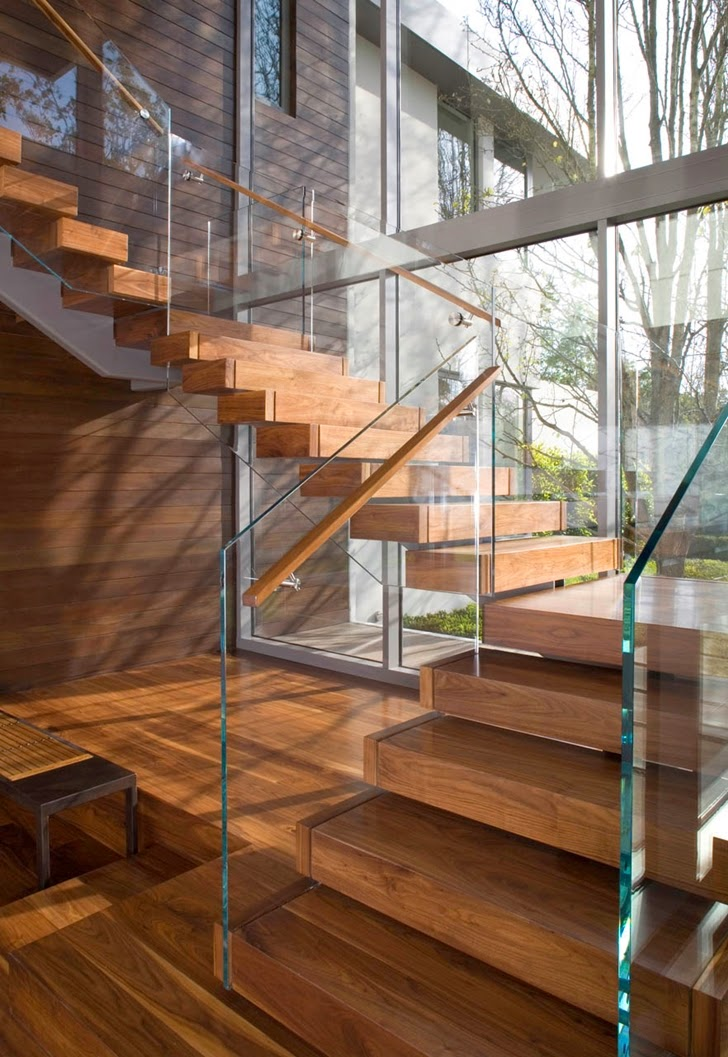 Modern stairs in Beautiful house by Belzberg Architects Group